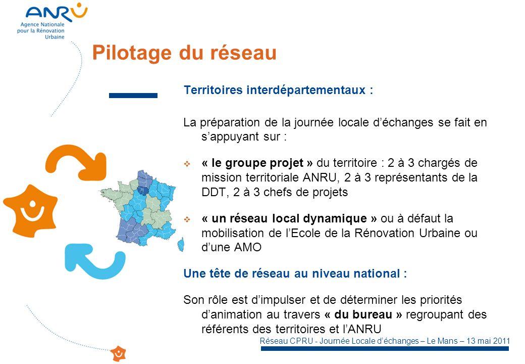 Réseau CPRU - Journée Locale déchanges – Le Mans – 13 mai 2011 Territoires interdépartementaux : La préparation de la journée locale déchanges se fait en sappuyant sur : « le groupe projet » du territoire : 2 à 3 chargés de mission territoriale ANRU, 2 à 3 représentants de la DDT, 2 à 3 chefs de projets « un réseau local dynamique » ou à défaut la mobilisation de lEcole de la Rénovation Urbaine ou dune AMO Une tête de réseau au niveau national : Son rôle est dimpulser et de déterminer les priorités danimation au travers « du bureau » regroupant des référents des territoires et lANRU Pilotage du réseau