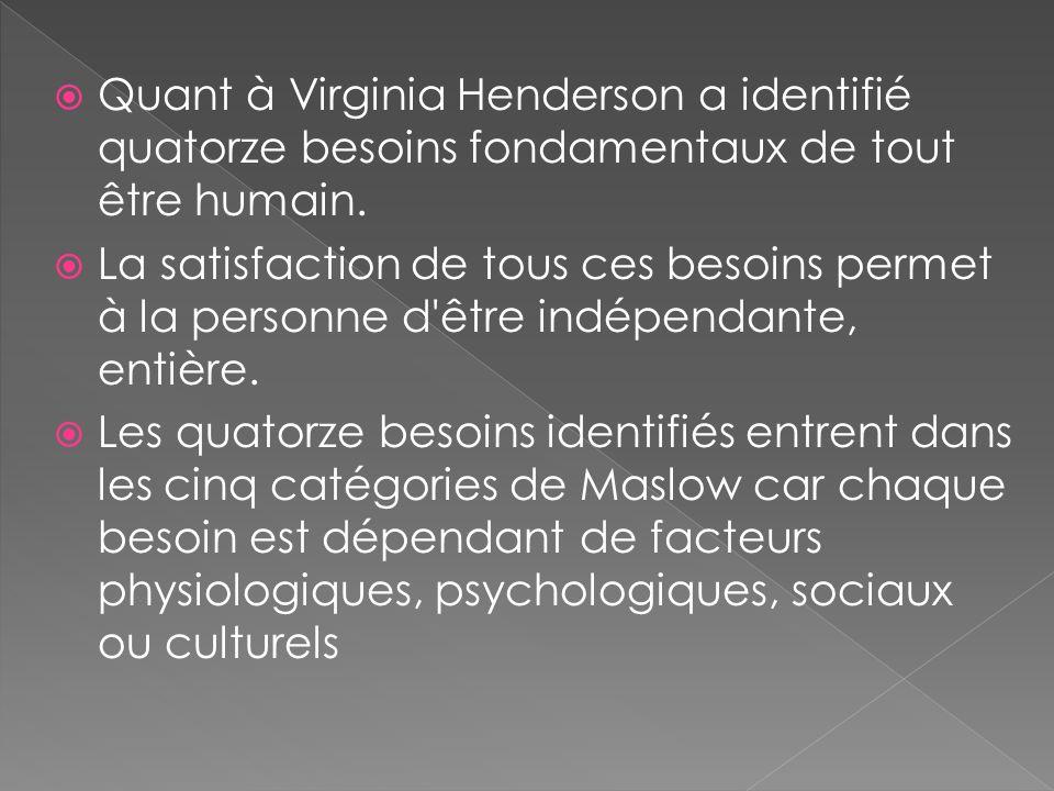Quant à Virginia Henderson a identifié quatorze besoins fondamentaux de tout être humain. La satisfaction de tous ces besoins permet à la personne d'ê