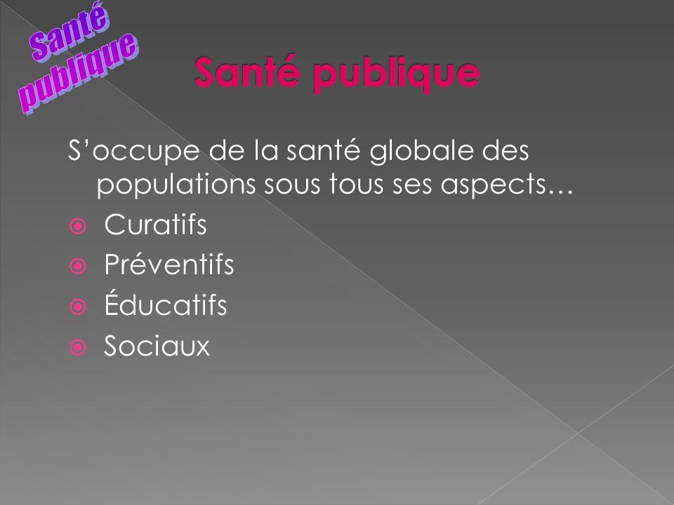 Soccupe de la santé globale des populations sous tous ses aspects… Curatifs Préventifs Éducatifs Sociaux