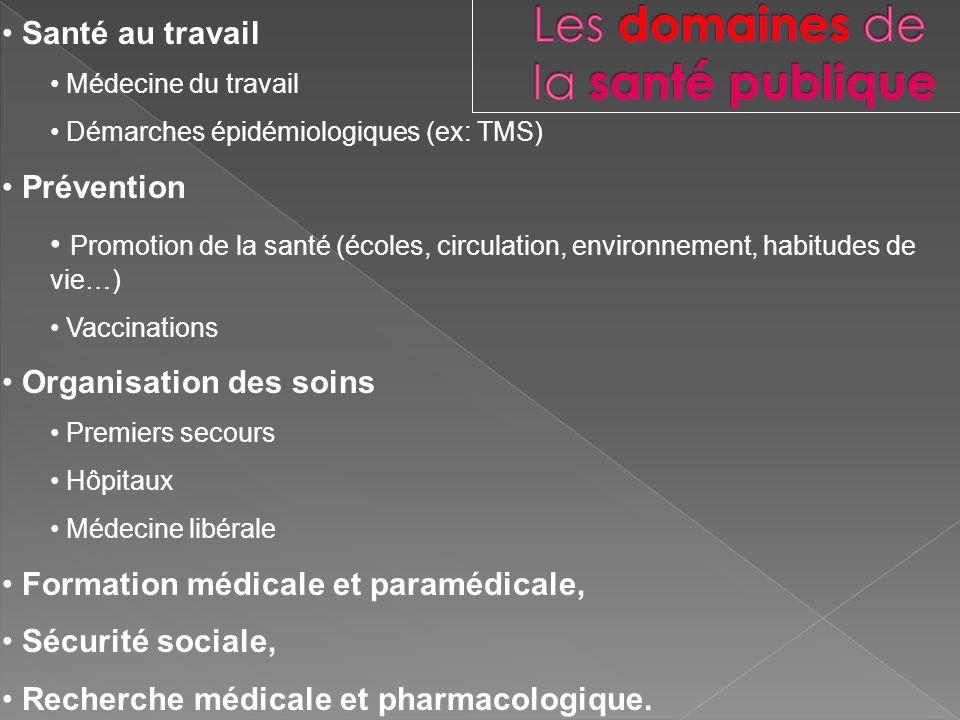 Santé au travail Médecine du travail Démarches épidémiologiques (ex: TMS) Prévention Promotion de la santé (écoles, circulation, environnement, habitu