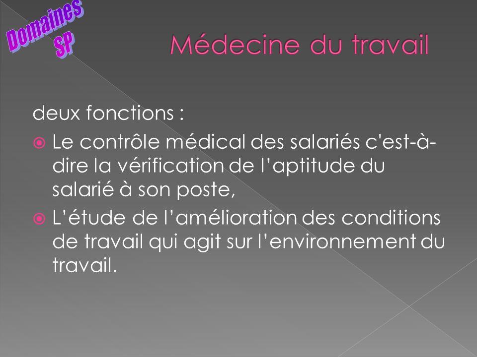 deux fonctions : Le contrôle médical des salariés c'est-à- dire la vérification de laptitude du salarié à son poste, Létude de lamélioration des condi