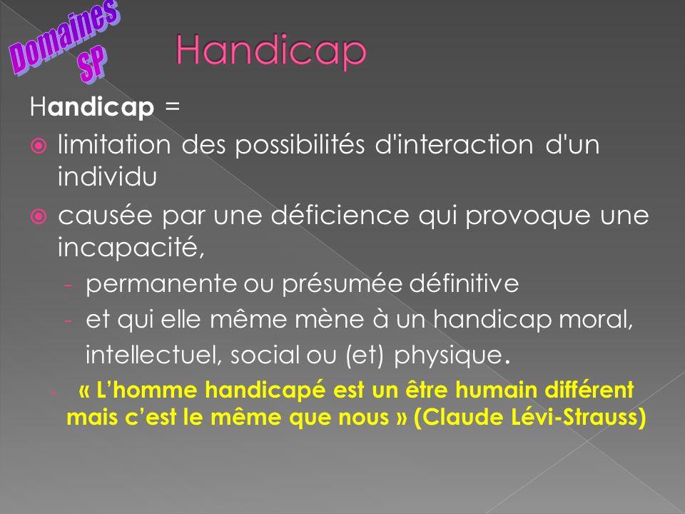 H andicap = limitation des possibilités d'interaction d'un individu causée par une déficience qui provoque une incapacité, - permanente ou présumée dé