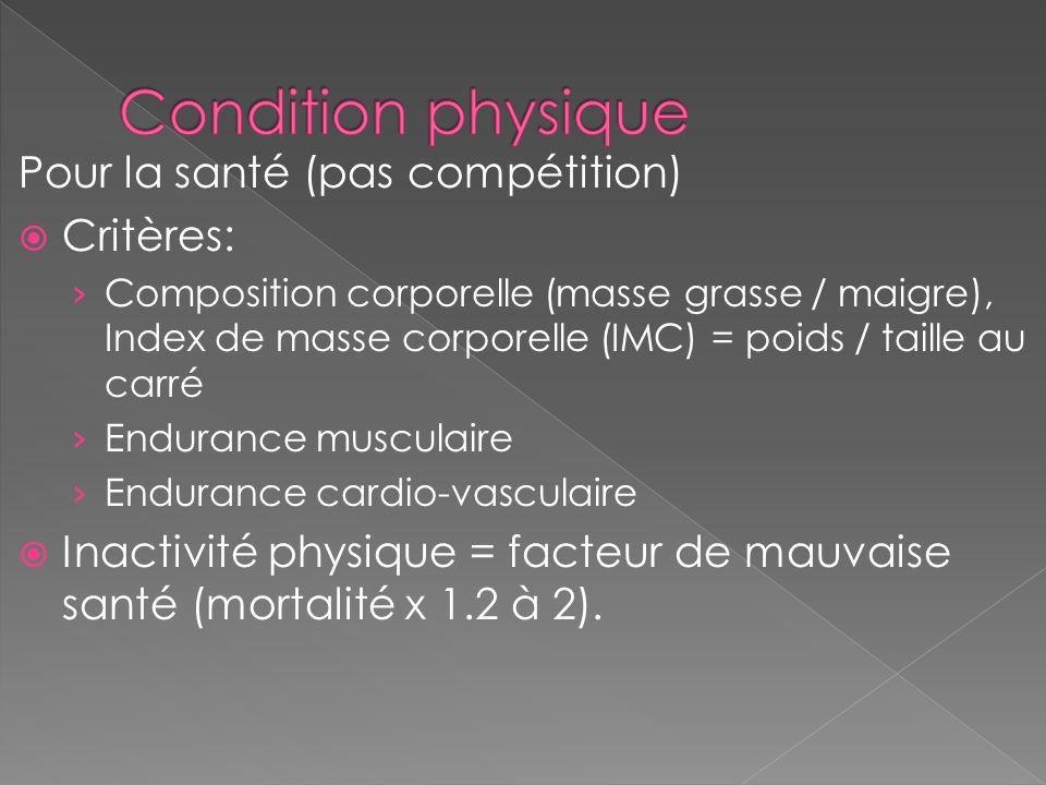 Pour la santé (pas compétition) Critères: Composition corporelle (masse grasse / maigre), Index de masse corporelle (IMC) = poids / taille au carré En