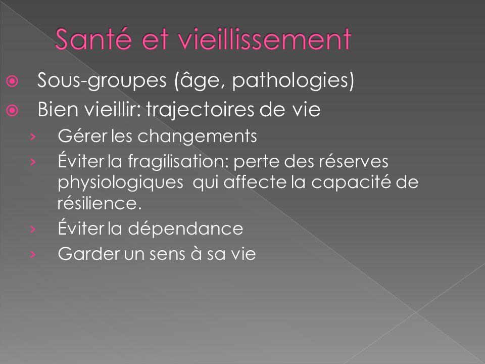 Sous-groupes (âge, pathologies) Bien vieillir: trajectoires de vie Gérer les changements Éviter la fragilisation: perte des réserves physiologiques qu