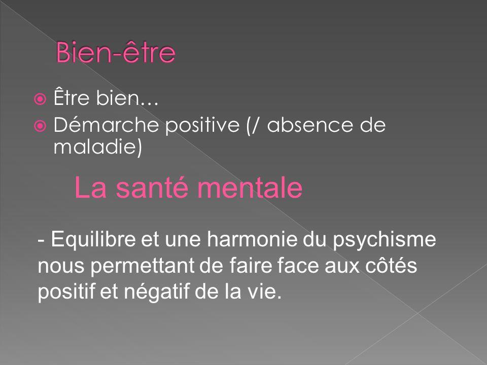 Être bien… Démarche positive (/ absence de maladie) - Equilibre et une harmonie du psychisme nous permettant de faire face aux côtés positif et négati