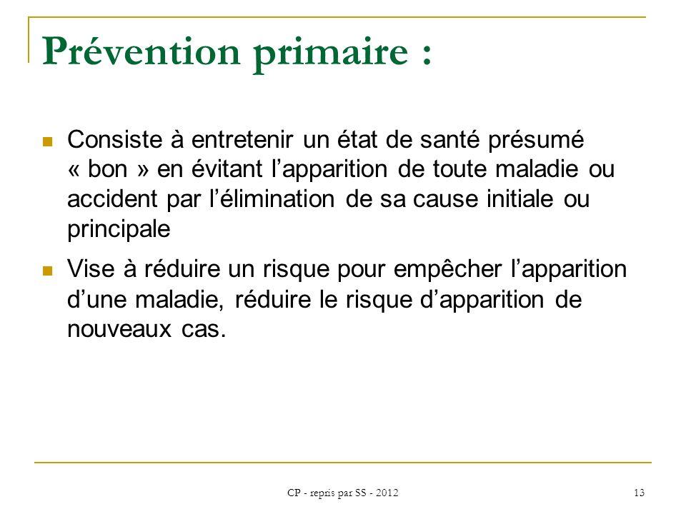 CP - repris par SS - 2012 13 Prévention primaire : Consiste à entretenir un état de santé présumé « bon » en évitant lapparition de toute maladie ou a