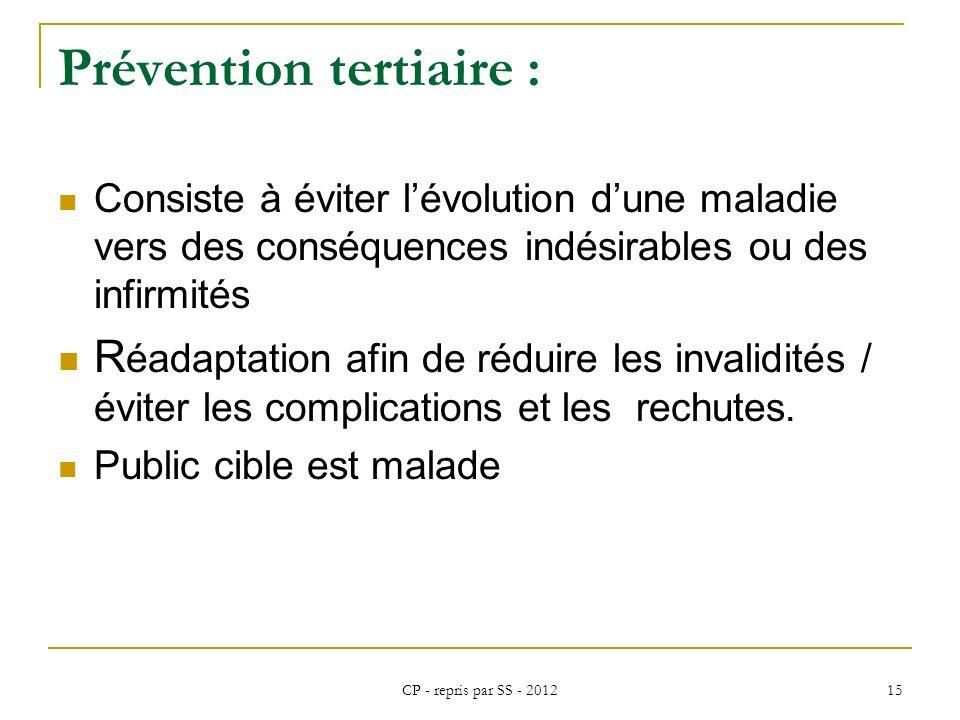 CP - repris par SS - 2012 15 Prévention tertiaire : Consiste à éviter lévolution dune maladie vers des conséquences indésirables ou des infirmités R é