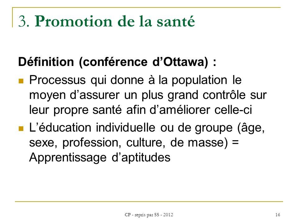 CP - repris par SS - 2012 16 3. Promotion de la santé Définition (conférence dOttawa) : Processus qui donne à la population le moyen dassurer un plus
