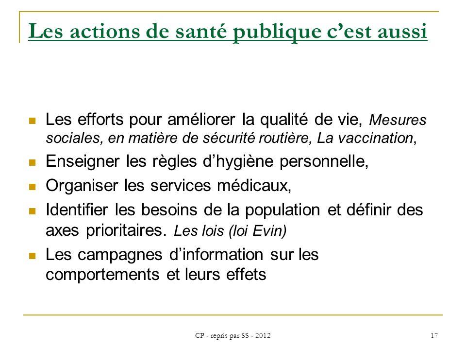 CP - repris par SS - 2012 17 Les actions de santé publique cest aussi Les efforts pour améliorer la qualité de vie, Mesures sociales, en matière de sé