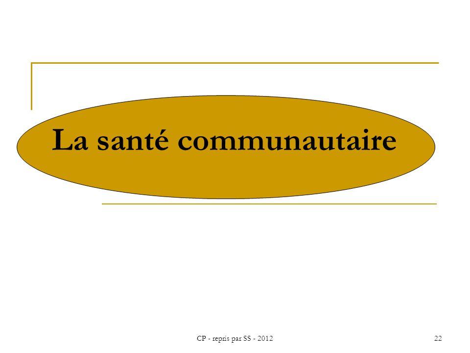 CP - repris par SS - 201222 La santé communautaire