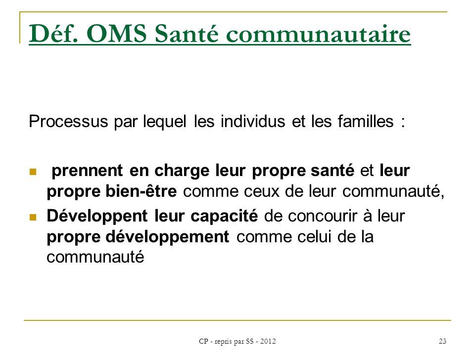 CP - repris par SS - 2012 23 Déf. OMS Santé communautaire Processus par lequel les individus et les familles : prennent en charge leur propre santé et