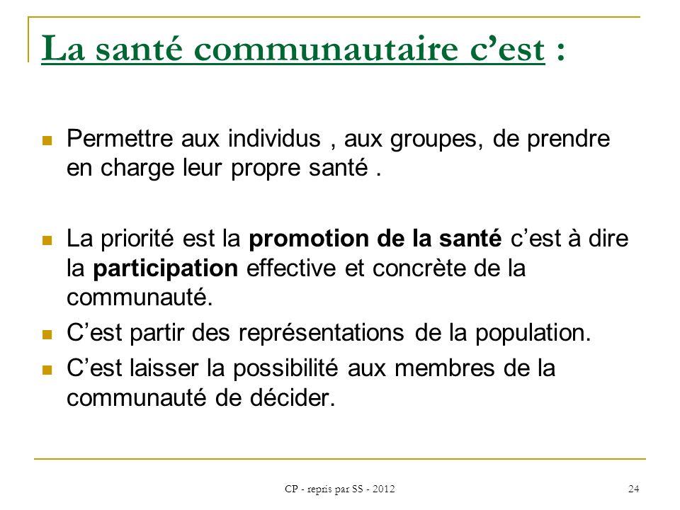 CP - repris par SS - 2012 24 La santé communautaire cest : Permettre aux individus, aux groupes, de prendre en charge leur propre santé. La priorité e
