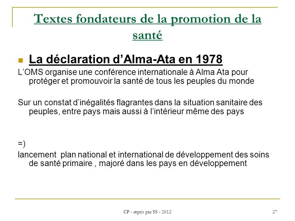 CP - repris par SS - 2012 27 Textes fondateurs de la promotion de la santé La déclaration dAlma-Ata en 1978 LOMS organise une conférence international