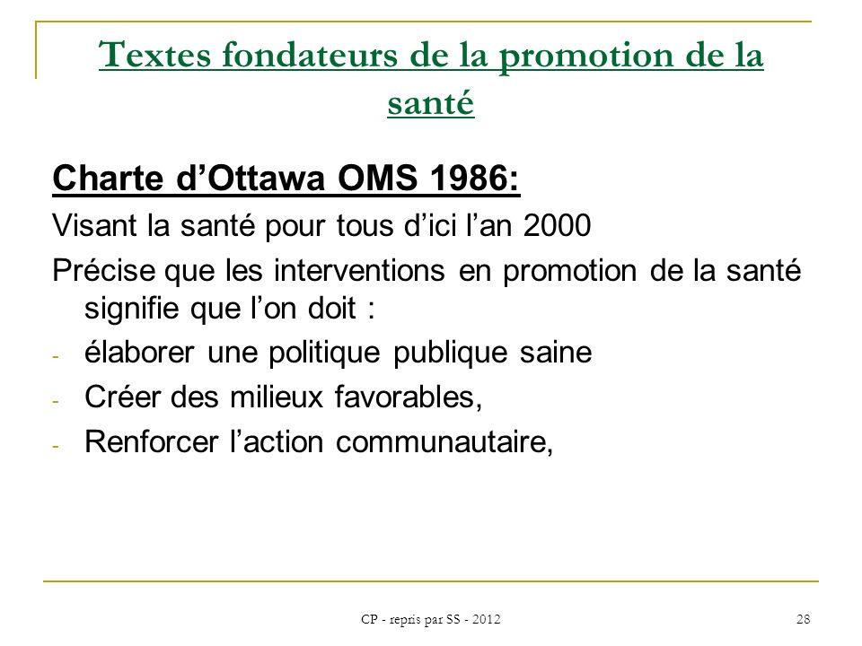 CP - repris par SS - 2012 28 Textes fondateurs de la promotion de la santé Charte dOttawa OMS 1986: Visant la santé pour tous dici lan 2000 Précise qu