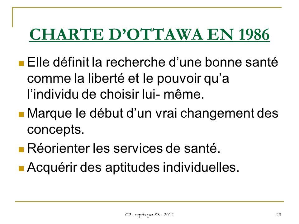 CP - repris par SS - 2012 29 CHARTE DOTTAWA EN 1986 Elle définit la recherche dune bonne santé comme la liberté et le pouvoir qua lindividu de choisir