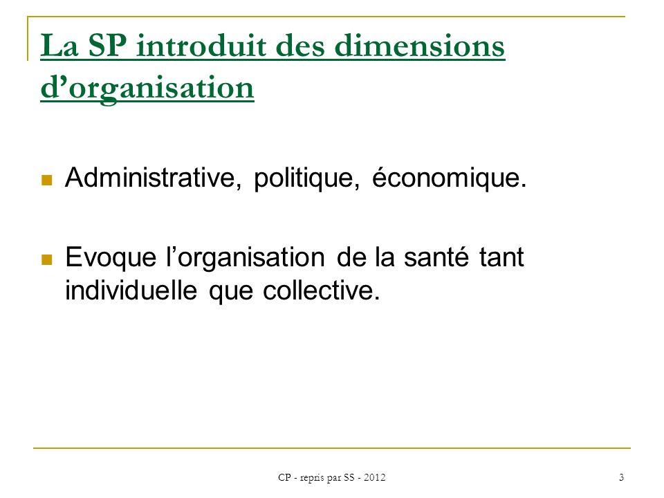 CP - repris par SS - 2012 3 La SP introduit des dimensions dorganisation Administrative, politique, économique. Evoque lorganisation de la santé tant