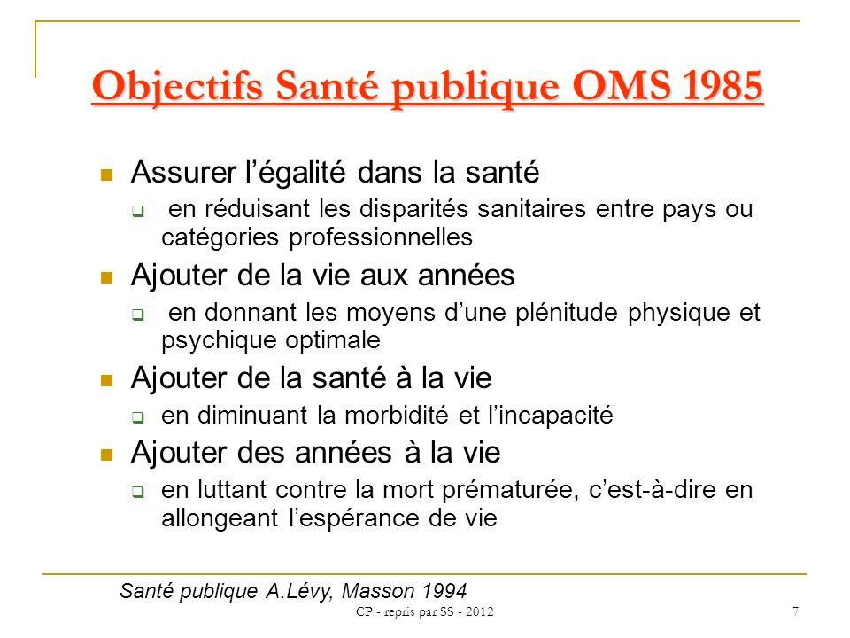 CP - repris par SS - 2012 7 Objectifs Santé publique OMS 1985 Assurer légalité dans la santé en réduisant les disparités sanitaires entre pays ou caté