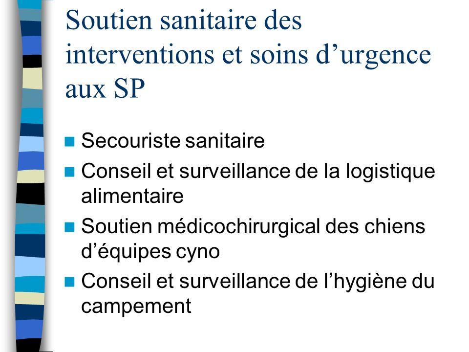 Soutien sanitaire des interventions et soins durgence aux SP Secouriste sanitaire Conseil et surveillance de la logistique alimentaire Soutien médicoc