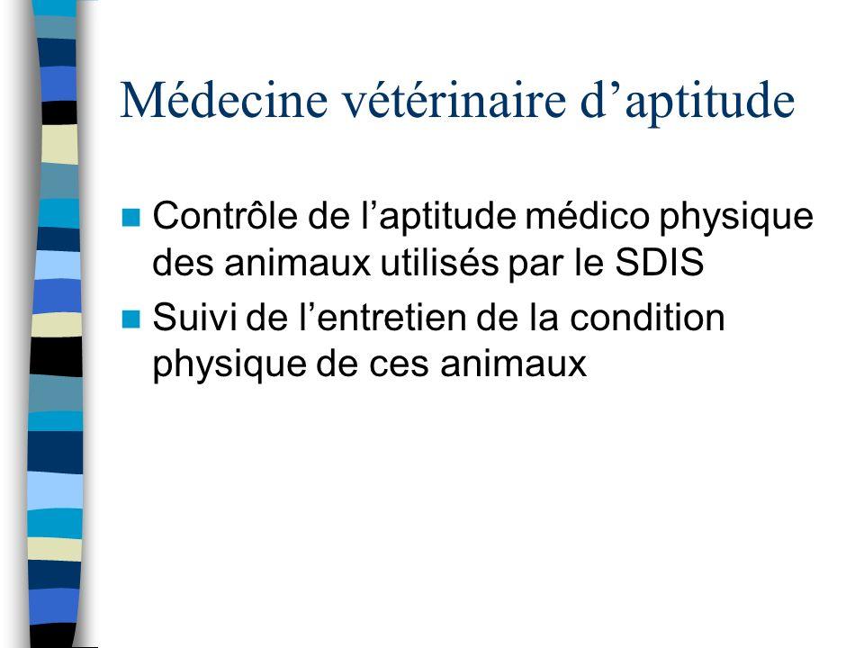 Médecine vétérinaire daptitude Contrôle de laptitude médico physique des animaux utilisés par le SDIS Suivi de lentretien de la condition physique de