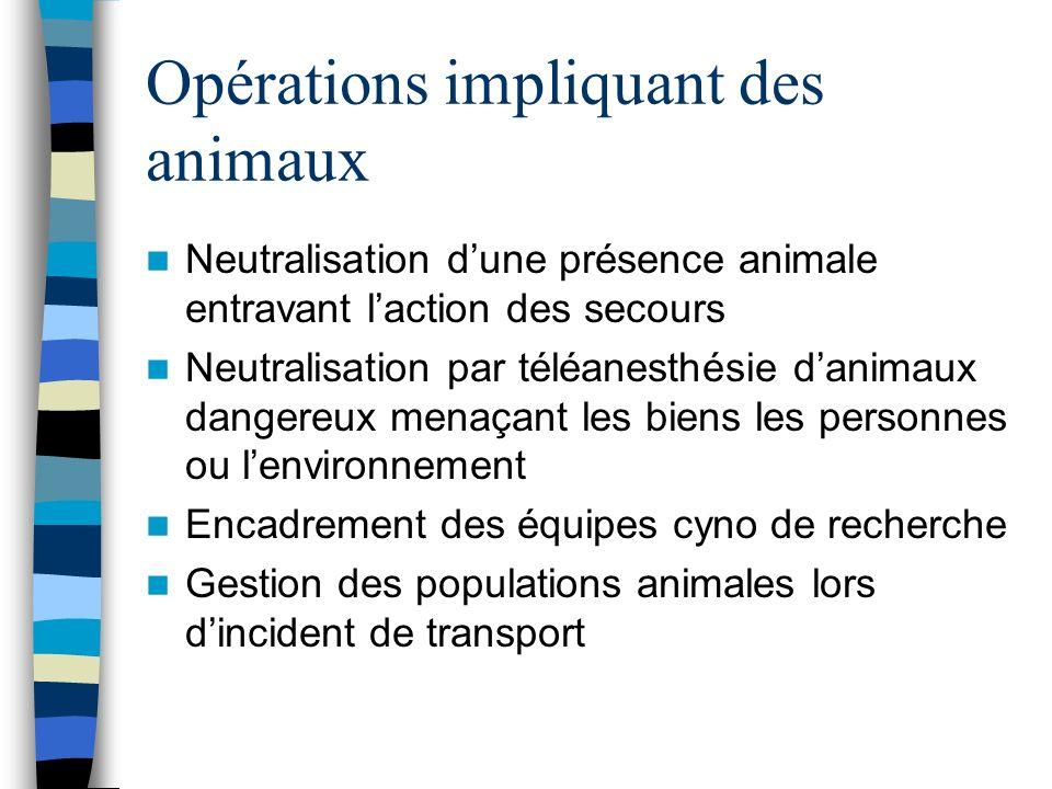 Opérations impliquant des animaux Neutralisation dune présence animale entravant laction des secours Neutralisation par téléanesthésie danimaux danger