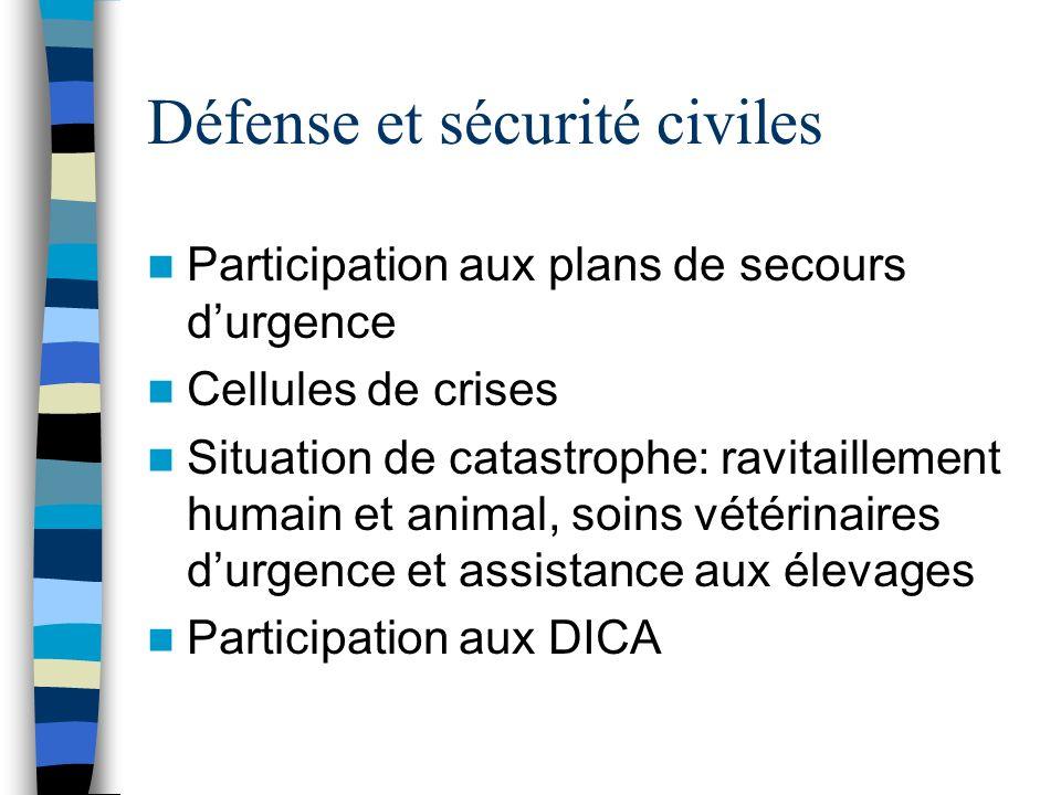 Défense et sécurité civiles Participation aux plans de secours durgence Cellules de crises Situation de catastrophe: ravitaillement humain et animal,