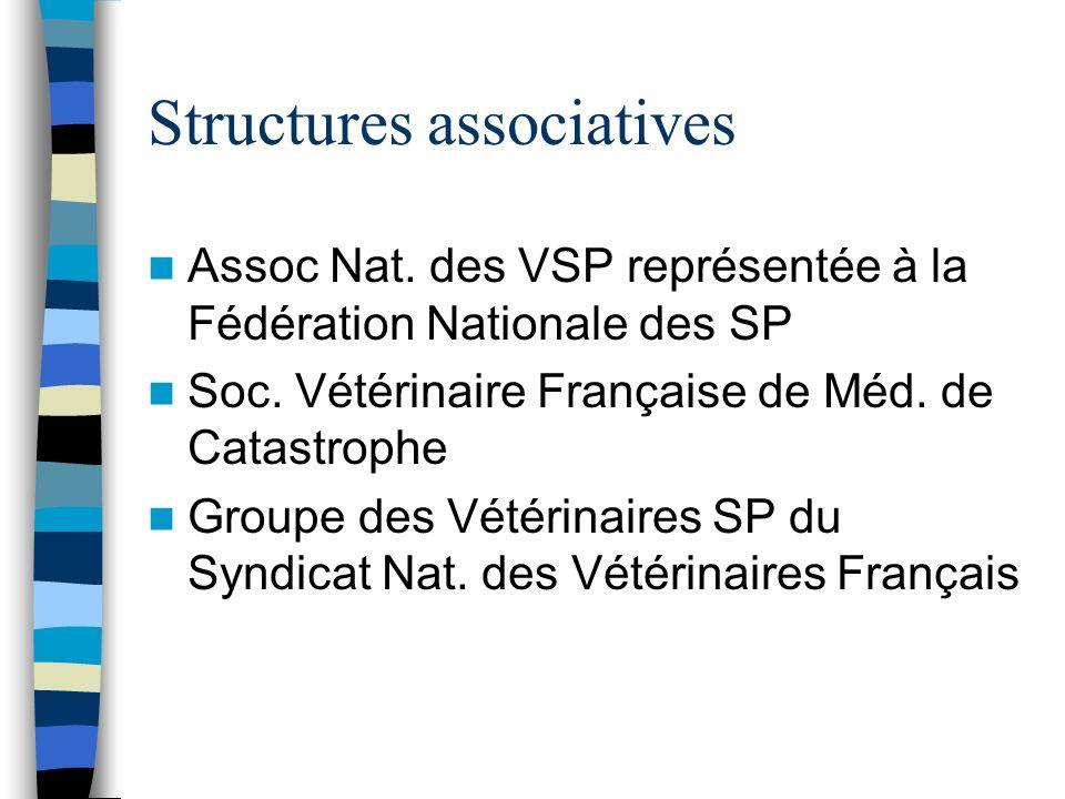 Structures associatives Assoc Nat. des VSP représentée à la Fédération Nationale des SP Soc. Vétérinaire Française de Méd. de Catastrophe Groupe des V