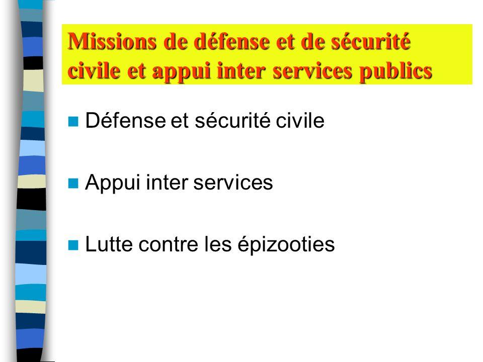 Défense et sécurité civile Appui inter services Lutte contre les épizooties Missions de défense et de sécurité civile et appui inter services publics