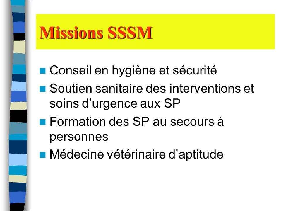 Missions SSSM Conseil en hygiène et sécurité Soutien sanitaire des interventions et soins durgence aux SP Formation des SP au secours à personnes Méde