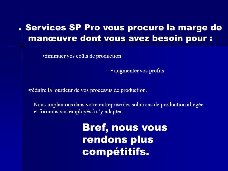 Services SP Pro vous procure la marge de manœuvre dont vous avez besoin pour : diminuer vos coûts de production augmenter vos profits réduire la lourdeur de vos processus de production.