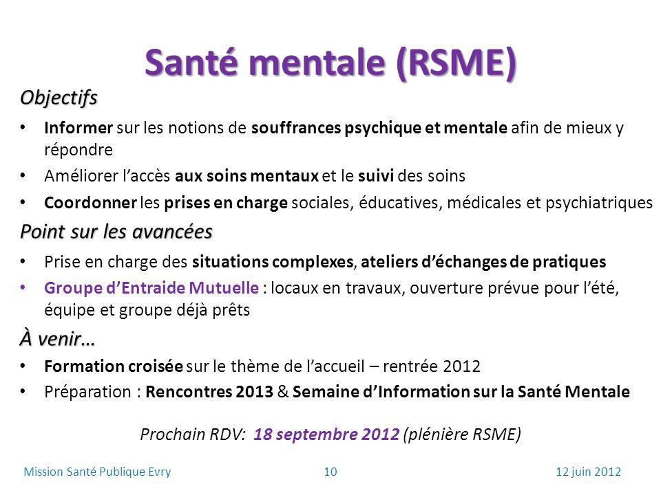 Santé mentale (RSME) Objectifs Informer sur les notions de souffrances psychique et mentale afin de mieux y répondre Améliorer laccès aux soins mentau