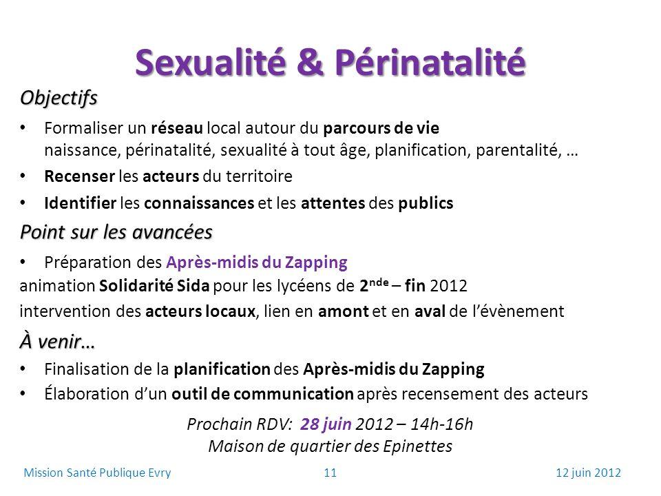 Sexualité & Périnatalité Objectifs Formaliser un réseau local autour du parcours de vie naissance, périnatalité, sexualité à tout âge, planification,