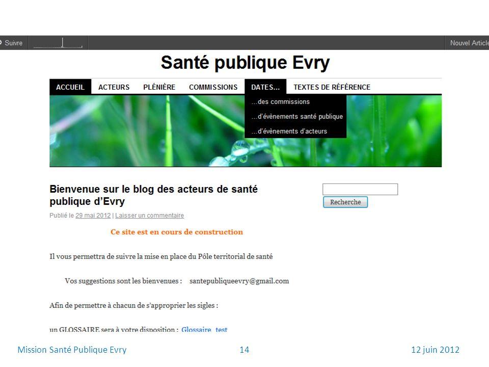1412 juin 2012Mission Santé Publique Evry