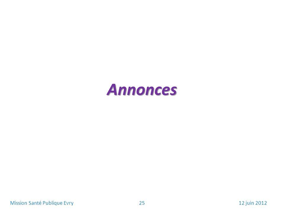 Annonces 2512 juin 2012Mission Santé Publique Evry