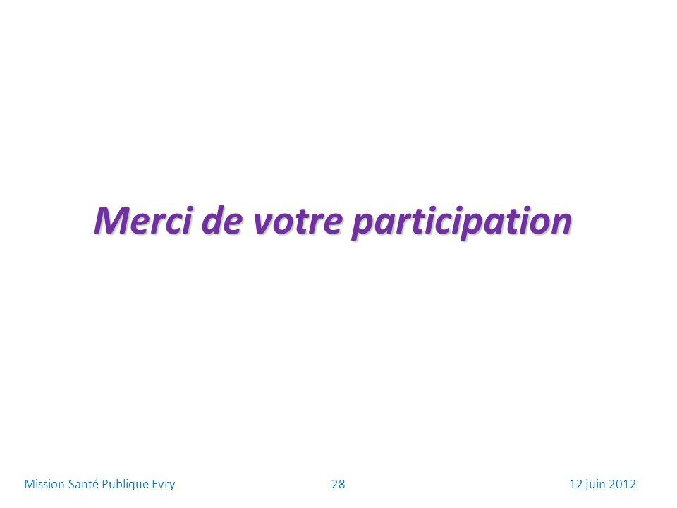 Merci de votre participation 2812 juin 2012Mission Santé Publique Evry