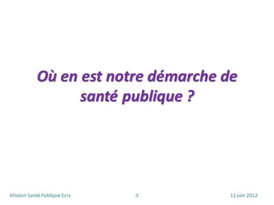 Où en est notre démarche de santé publique ? 312 juin 2012Mission Santé Publique Evry