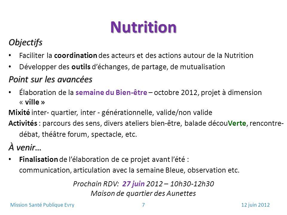 Nutrition Objectifs Faciliter la coordination des acteurs et des actions autour de la Nutrition Développer des outils déchanges, de partage, de mutual