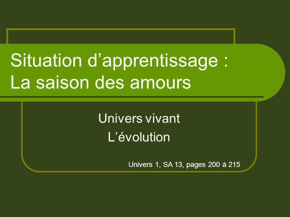 Situation dapprentissage : La saison des amours Univers vivant Lévolution Univers 1, SA 13, pages 200 à 215