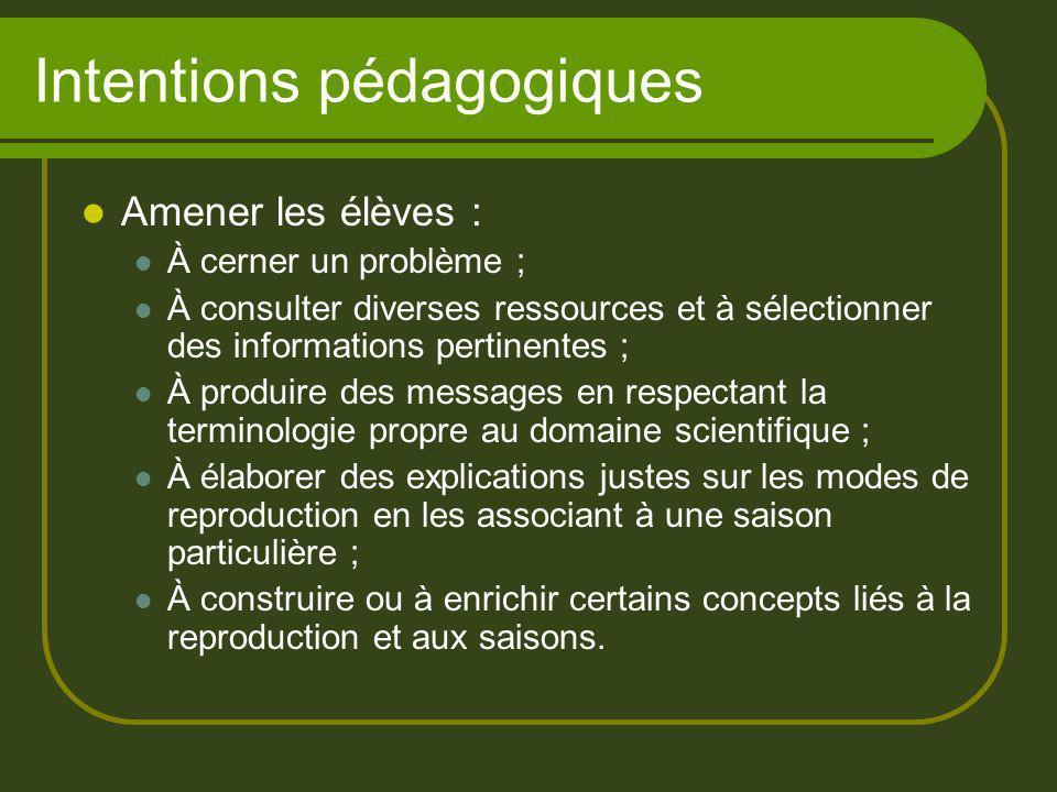 Intentions pédagogiques Amener les élèves : À cerner un problème ; À consulter diverses ressources et à sélectionner des informations pertinentes ; À