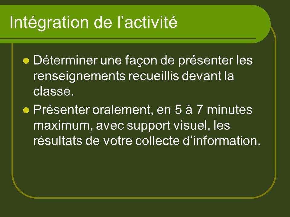 Intégration de lactivité Déterminer une façon de présenter les renseignements recueillis devant la classe. Présenter oralement, en 5 à 7 minutes maxim