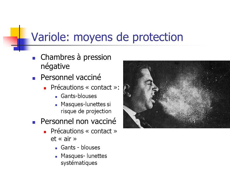 Variole: moyens de protection Chambres à pression négative Personnel vacciné Précautions « contact »: Gants-blouses Masques-lunettes si risque de proj