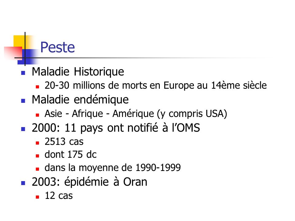 Peste Maladie Historique 20-30 millions de morts en Europe au 14ème siècle Maladie endémique Asie - Afrique - Amérique (y compris USA) 2000: 11 pays o