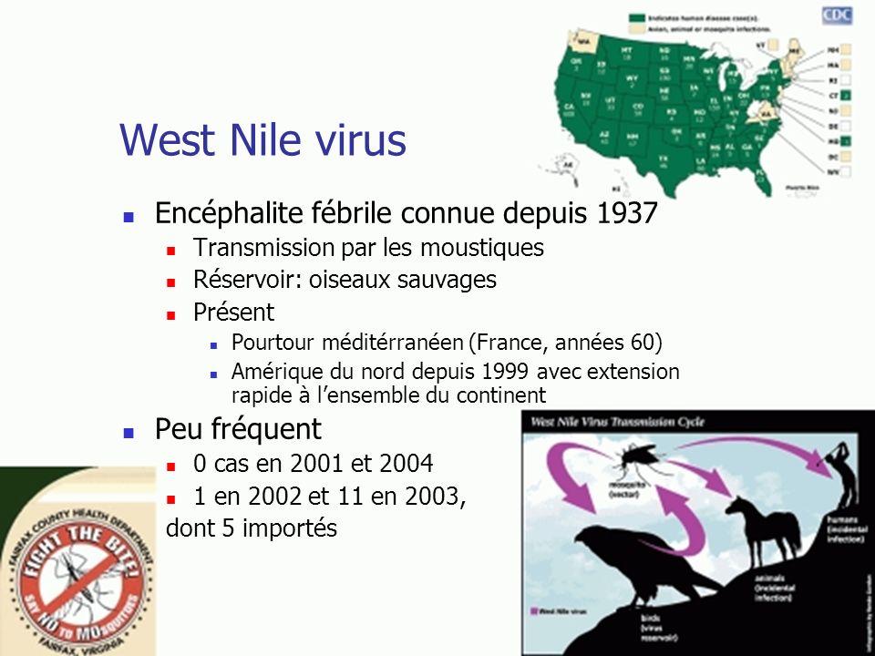 West Nile virus Encéphalite fébrile connue depuis 1937 Transmission par les moustiques Réservoir: oiseaux sauvages Présent Pourtour méditérranéen (Fra