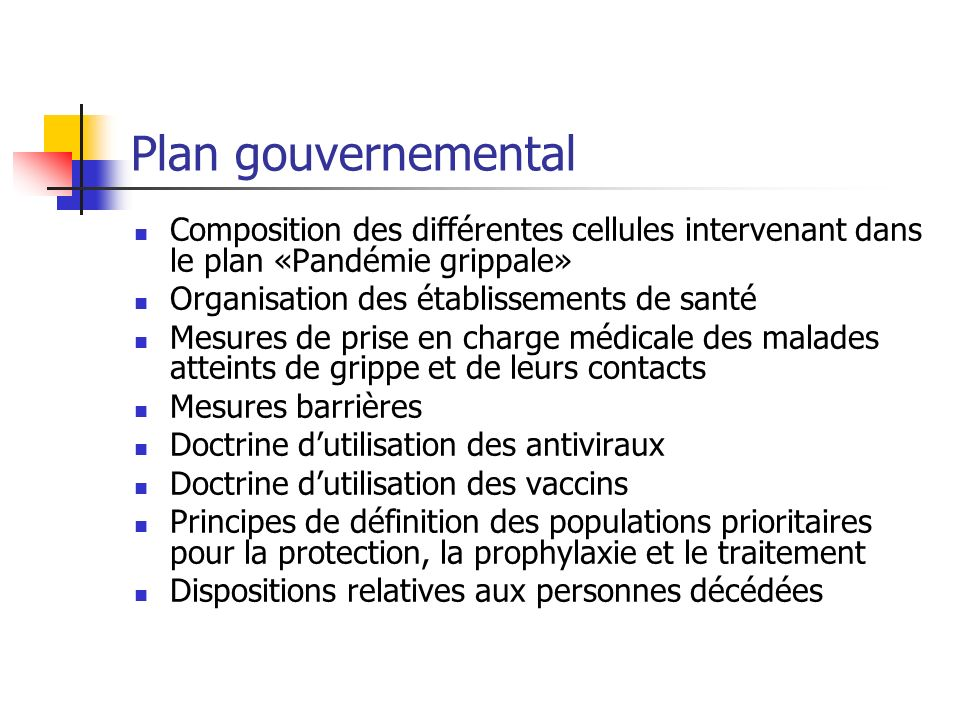 Plan gouvernemental Composition des différentes cellules intervenant dans le plan «Pandémie grippale» Organisation des établissements de santé Mesures
