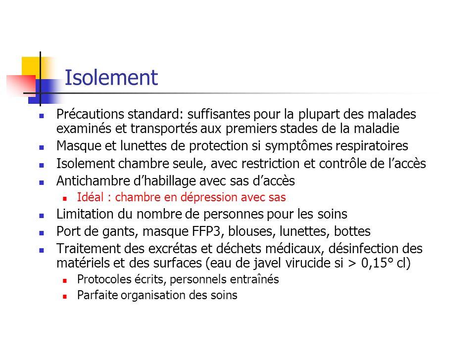 Isolement Précautions standard: suffisantes pour la plupart des malades examinés et transportés aux premiers stades de la maladie Masque et lunettes d