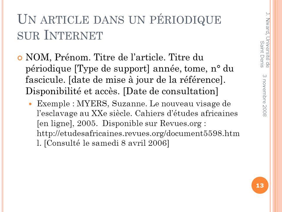 SITE WEB Le titre du périodique est remplacé par le titre du site Exemple : Ménestrel.