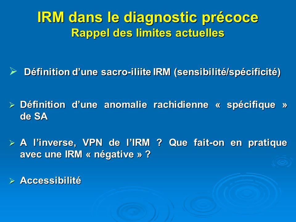 IRM dans le diagnostic précoce Rappel des limites actuelles Définition dune sacro-iliite IRM (sensibilité/spécificité) Définition dune sacro-iliite IR