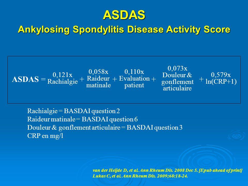ASDAS Ankylosing Spondylitis Disease Activity Score Rachialgie = BASDAI question 2 Raideur matinale = BASDAI question 6 Douleur & gonflement articulai