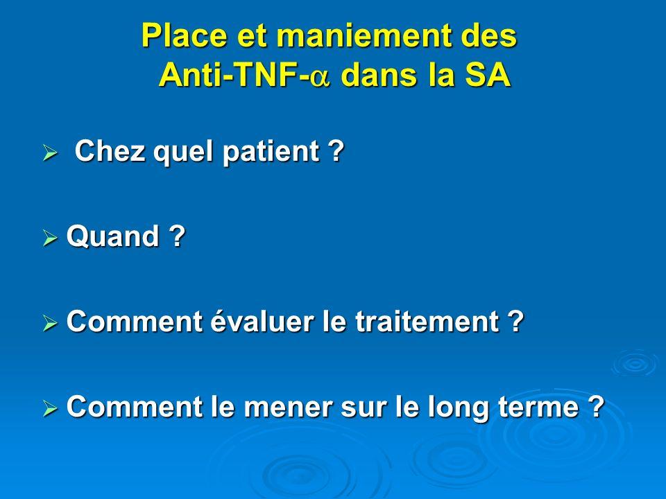 Place et maniement des Anti-TNF- dans la SA Chez quel patient ? Chez quel patient ? Quand ? Quand ? Comment évaluer le traitement ? Comment évaluer le