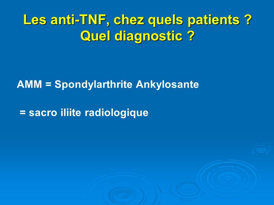 Les anti-TNF, chez quels patients ? Quel diagnostic ? AMM = Spondylarthrite Ankylosante = sacro iliite radiologique