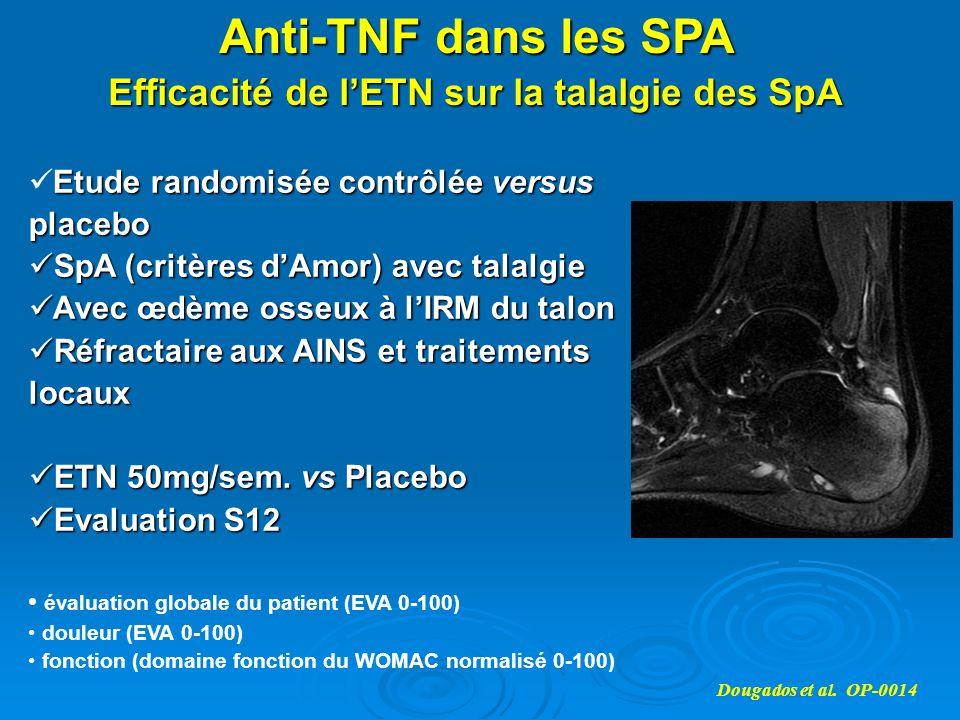 Anti-TNF dans les SPA Efficacité de lETN sur la talalgie des SpA Dougados et al. OP-0014 Etude randomisée contrôlée versus placebo SpA (critères dAmor